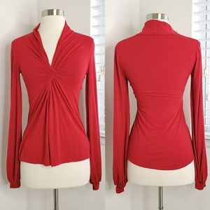 •ANALILI• Front Twist Accent Bell Sleeve Red Top.